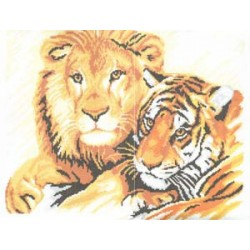 """725 Рисунок на канве """"Лев и тигр"""" (Искусница)"""