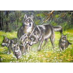 4004 Волки. Рисунок на шёлке.