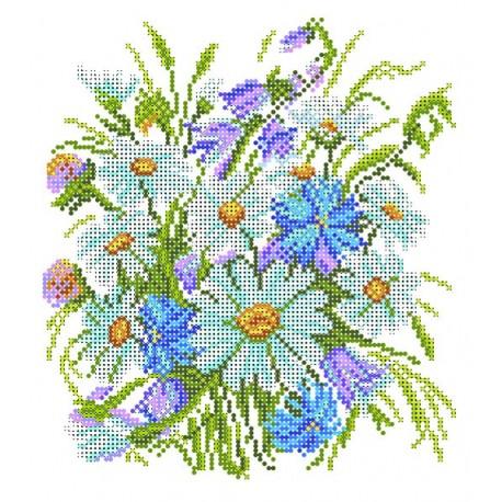 4502 Луговые цветы. Рисунок на шёлке.
