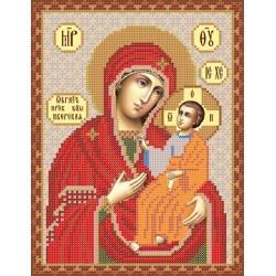 РИП-013 Иверская Божья Матерь. Рисунок на шёлке.