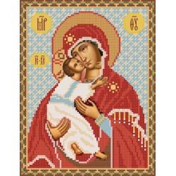 РИП-004 Богородица Владимирская. Рисунок на шёлке.