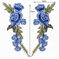 Вышивка пришивная, синие розы