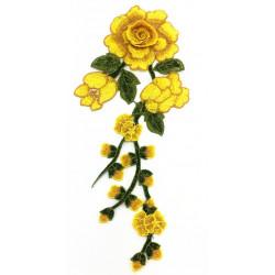 Вышивка пришивная, жёлтые розы