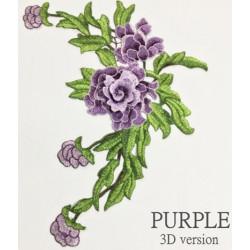 Вышивка пришивная, сиреневые розы объёмные