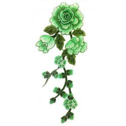 Вышивка пришивная, салатовые розы