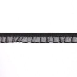 208-13 Черная тесьма-оборка на резинке