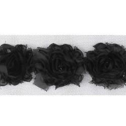 2498 Черная тесьма с цветочками