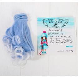 """Волосы - трессы для кукол """"Завитки голубые"""""""