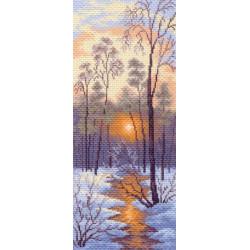 1204 Канва с рисунком Зимний закат( Матренин посад)