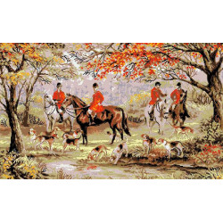 """Л-37 Канва с рисунком """"Прогулка на лошадях"""""""