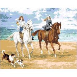 "А-009  Канва с рисунком ""Прогулка на лошадях"""